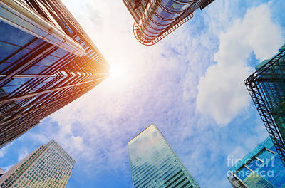 Skyscraper Photograph - Modern Business Skyscrapers, High-rise Buildings, Architecture Raising To The Sky, Sun by Michal Bednarek