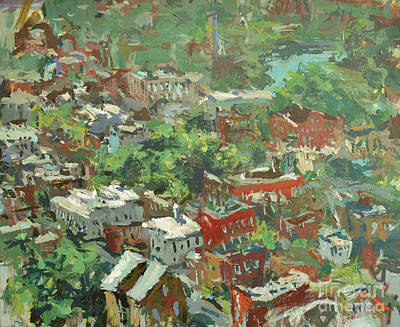 Modern Cityscape Painting Featuring Downtown Richmond Virginia Print by Robert Joyner