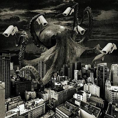 Modern Freedom Black And White Print by Marian Voicu