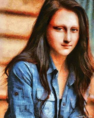 Shirt Digital Art - Modern Mona Lisa  - Camille Style -  - Da by Leonardo Digenio
