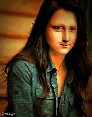 Shirt Painting - Modern Mona Lisa - Rembrandt Style by Leonardo Digenio