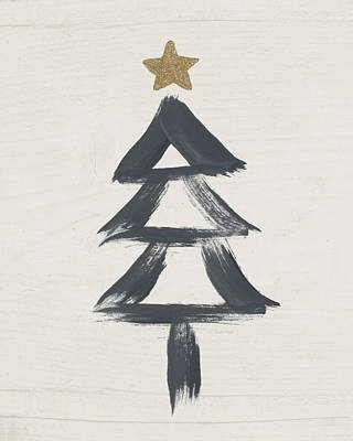 Holidays Mixed Media - Modern Primitive Black And Gold Tree 2- Art By Linda Woods by Linda Woods