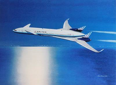 Airliners Drawing - Modern Prototype Airliner 9 by Brian Roland