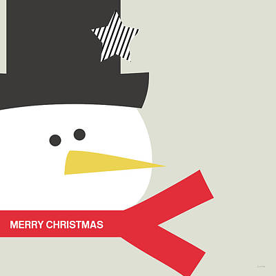 Christmas Cards Digital Art - Modern Snowman Merry Christmas Red- Art By Linda Woods by Linda Woods