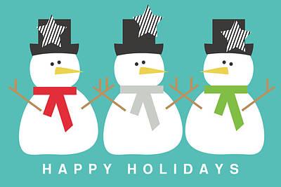 Modern Snowmen Happy Holidays- Art By Linda Woods Print by Linda Woods