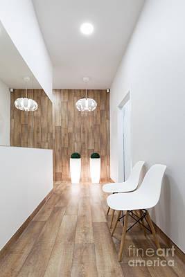 Warm Photograph - Modern Waiting Room, Reception. Cozy Minimalistic Interior by Michal Bednarek