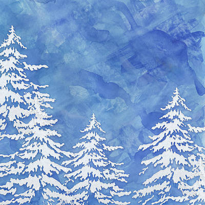 Cabin Painting - Modern Watercolor Winter Abstract - Snowy Trees by Audrey Jeanne Roberts