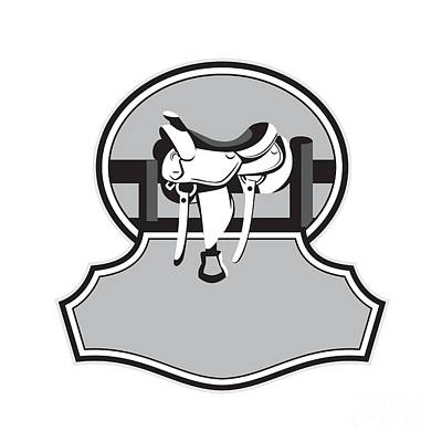 Concho Digital Art - Modern Western Saddle Fence Oval Black And White by Aloysius Patrimonio