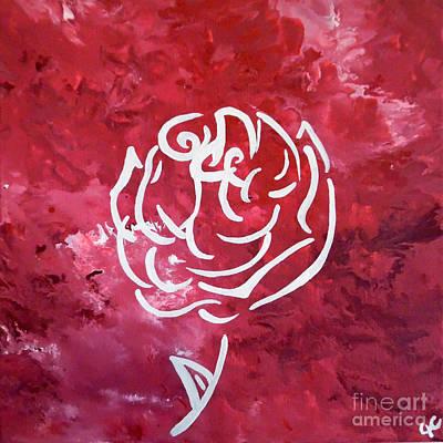 Abstract Handbag Drawing Painting - Modern White Rose by Jilian Cramb - AMothersFineArt