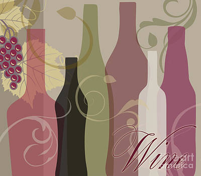 Bottle Painting - Modern Wine IIi by Mindy Sommers