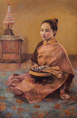 Laos Painting - Modesty by Sompaseuth Chounlamany