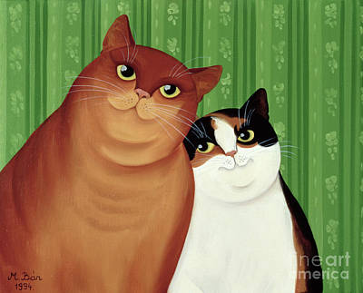 Whiskers Painting - Moggies by Magdolna Ban