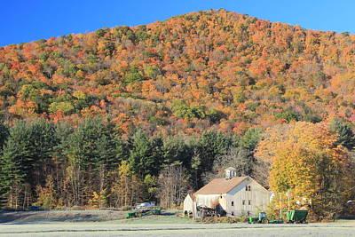 Mohawk Trail Fall Foliage And Farm Print by John Burk
