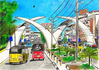 Mombasa Painting - Moi Ave, Mombasa Tusks  by Katie Sasser