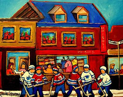 Montreal Winter Scenes Painting - Moishes Steakhouse Hockey Practice by Carole Spandau