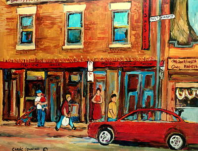 The Main Montreal Painting - Moishes Steakhouse On The Main By Montreal Streetscene Painter Carole  Spandau  by Carole Spandau