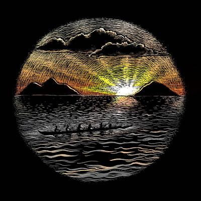 Canoe Mixed Media - Mokulua Sunrise Paddle by Kirsten Carlson