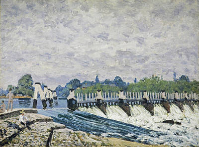 Molesey Weir Hampton Court Print by Alfred Sisley
