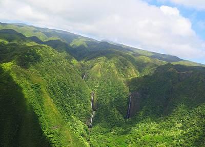 Lush Digital Art - Molokai Island Waterfalls by Stacia Blase