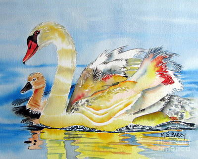 Swans... Painting - Mom And Baby by Maria Barry