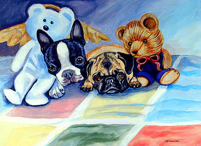 Boston Painting - Mom Can She Stay Over - Pug And Boston Terrier by Lyn Cook
