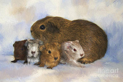 Pets Art Digital Art - Mommy With Children by Jutta Maria Pusl