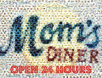 Mosaic Mixed Media - Moms Diner Food Mosaic by Paul Van Scott