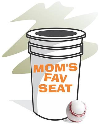 Softball Drawing - Mom's Favorite Seat by Jerry Watkins