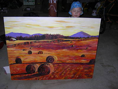 Haybale Painting - Mom's Haybales by Kelly Smith