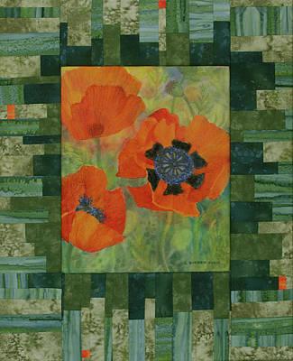 Patchwork Quilts Mixed Media - Mom's Poppies by Lauren Everett Finn