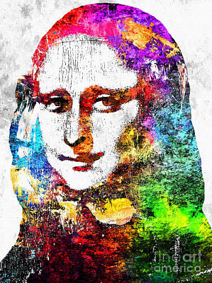 Louvre Mixed Media - Mona Lisa Grunge by Daniel Janda