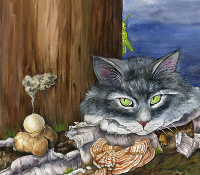 Mona With The Mushrooms Print by Mindy Lighthipe