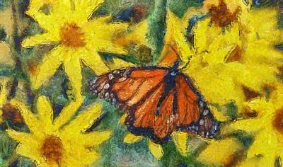 Butterfly Mixed Media - Monarch Butterfly On Flowers by Dan Sproul