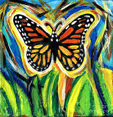 Striped Butterfly Painting - Monarch Butterfly With Grass by Genevieve Esson