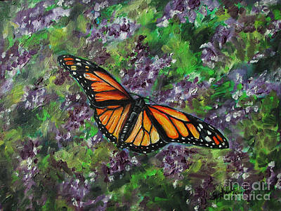 Lilac Drawing - Monarch On The Lilacs by Stephanie  Skeem