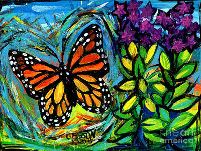 Striped Butterfly Painting - Monarch With Milkweed by Genevieve Esson