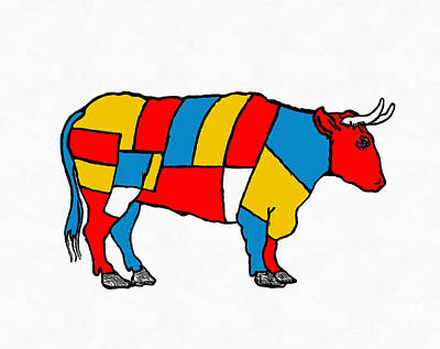 Butcher Painting - Mondrian Cow by Edward Fielding