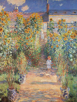 Monets Garden In Vetheuil Print by Claude Monet