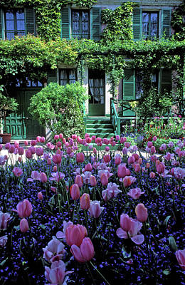 Monet's House With Tulips Print by Kathy Yates