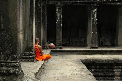 Angkor Digital Art - Monk In Cambodia by Brady Barrineau