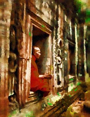 Angkor Digital Art - Monk In Meditation by Mario Carini