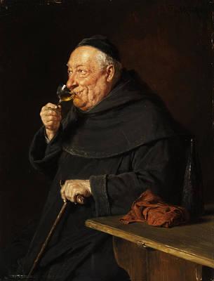 Monk With A Wine Print by Eduard von Grutzner