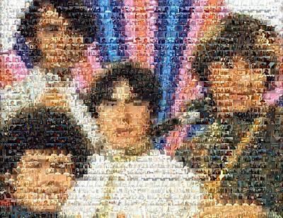 Monkees Mosaic Print by Paul Van Scott