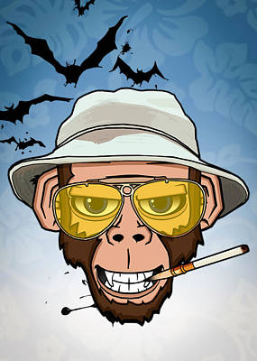 Chimpanzee Drawing - Monkey Business In Las Vegas by Nicklas Gustafsson