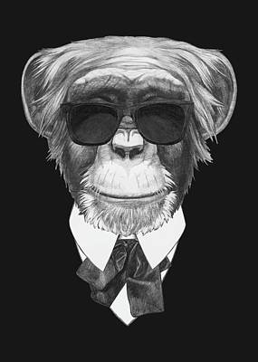 Monkey In Black Print by Marco Sousa
