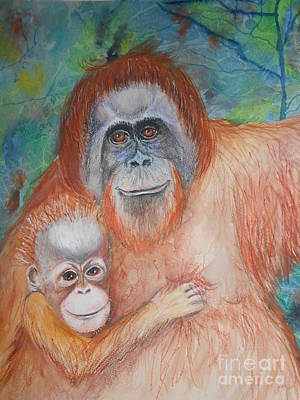 Orangutan Mixed Media - Monkey Mum And Baby by Brenda Jenkins