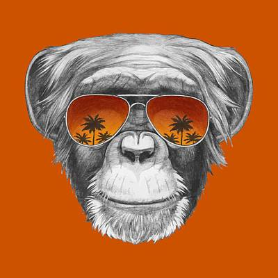 Monkey With Mirror Sunglasses Print by Marco Sousa