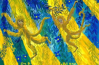 Sue Burgess Painting - Monkeys And Sunbeams by Sushila Burgess