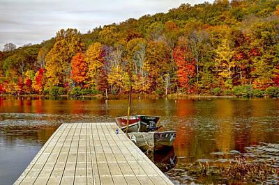 Row Boat Digital Art - The Monksville Reservior In Autumn  by Geraldine Scull