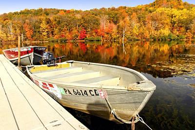 Row Boat Digital Art - Monksville Reservior  by Geraldine Scull